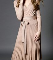 photo Faux Wrap Pleated Tie Waist Long Sleeve Knit Dress by OASAP - Image 6