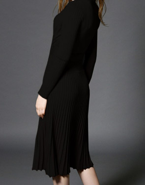 photo Faux Wrap Pleated Tie Waist Long Sleeve Knit Dress by OASAP - Image 7