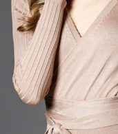 photo Faux Wrap Pleated Tie Waist Long Sleeve Knit Dress by OASAP - Image 8