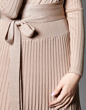 photo Faux Wrap Pleated Tie Waist Long Sleeve Knit Dress by OASAP - Image 9