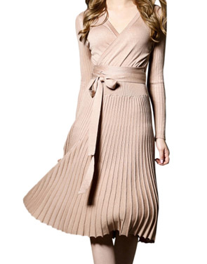photo Faux Wrap Pleated Tie Waist Long Sleeve Knit Dress by OASAP - Image 1