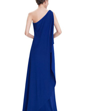 photo Fitted One Shoulder Draped Evening Dress by OASAP, color Blue - Image 2