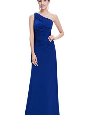 photo Fitted One Shoulder Draped Evening Dress by OASAP, color Blue - Image 1
