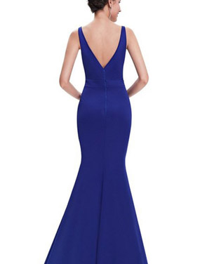 photo Fitted Sweetheart Evening Dress with Illusion Neckline by OASAP, color Royal Blue - Image 2