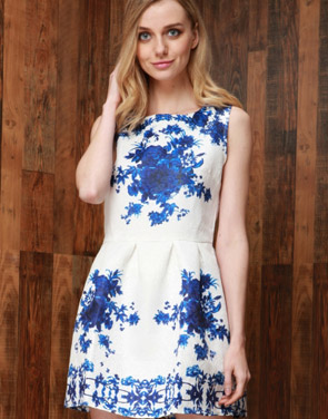photo Floral Jacquard Sleeveless A-line Skater Dress by OASAP, color Blue - Image 2