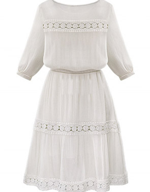 photo Floral Lace Paneled 3/4 Sleeve A-line Dress by OASAP, color White - Image 2