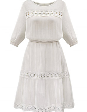 photo Floral Lace Paneled 3/4 Sleeve A-line Dress by OASAP, color White - Image 1