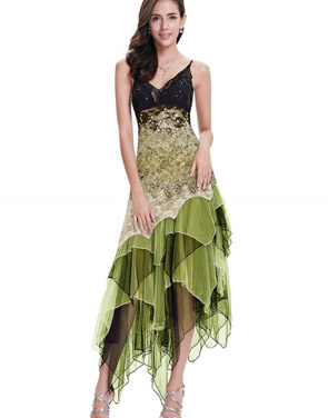 photo Floral Lace Paneled Sequin Asymmetric Slim Fit Dress by OASAP - Image 2