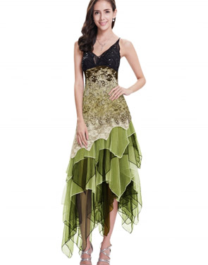 photo Floral Lace Paneled Sequin Asymmetric Slim Fit Dress by OASAP - Image 1