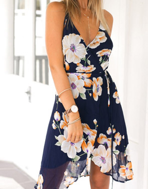 photo Floral Print Asymmetric Spaghetti Strap Crossed Back Chiffon Dress by OASAP, color Multi - Image 2