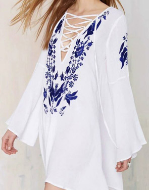 photo Floral Print Lace-up Front Flare Sleeve Dress by OASAP - Image 2