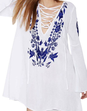photo Floral Print Lace-up Front Flare Sleeve Dress by OASAP - Image 1