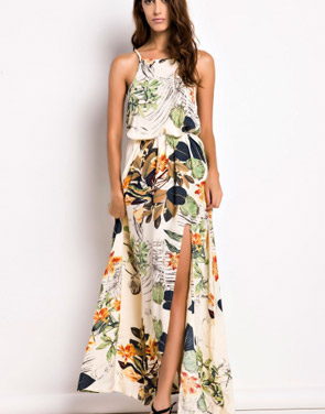 photo Floral Print Sleeveless Maxi Dress by OASAP, color Multi - Image 1