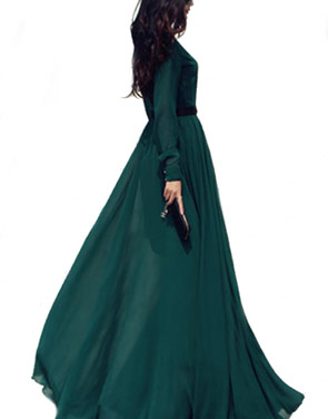 photo Glamorous Dark Green Long-Sleeve Maxi Chiffon Dress by OASAP, color Dark Green - Image 2