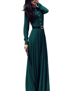 photo Glamorous Dark Green Long-Sleeve Maxi Chiffon Dress by OASAP, color Dark Green - Image 1