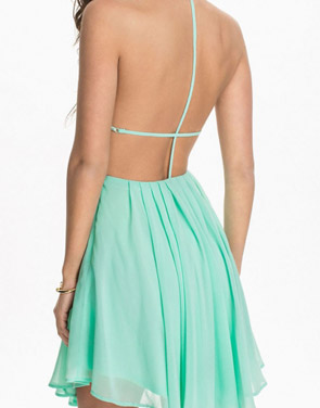 photo Green Sexy T-Back Layered Skater Dress by OASAP, color Light Green - Image 2