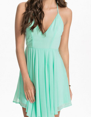photo Green Sexy T-Back Layered Skater Dress by OASAP, color Light Green - Image 1
