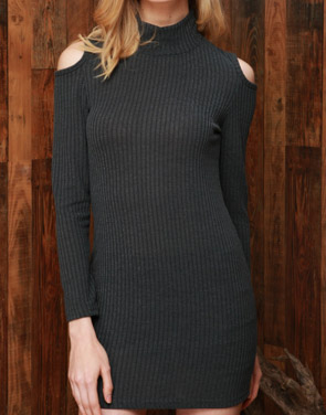 photo Grey Open-Shoulder Ribbed Knit Sweater Dress by OASAP, color Grey - Image 1