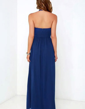 photo Halter Cut-out FronT-Backless Maxi Chiffon Dress by OASAP - Image 2