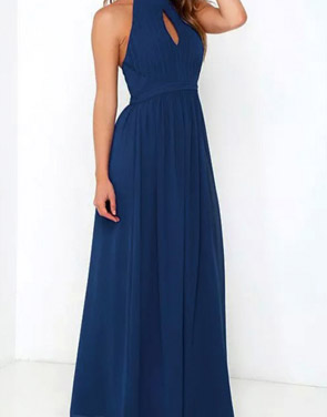 photo Halter Cut-out FronT-Backless Maxi Chiffon Dress by OASAP - Image 3