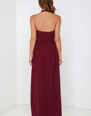 photo Halter Cut-out FronT-Backless Maxi Chiffon Dress by OASAP - Image 5