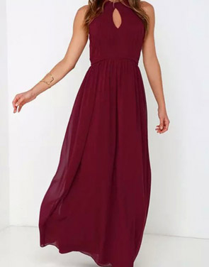 photo Halter Cut-out FronT-Backless Maxi Chiffon Dress by OASAP - Image 6
