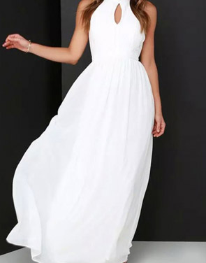 photo Halter Cut-out FronT-Backless Maxi Chiffon Dress by OASAP - Image 7