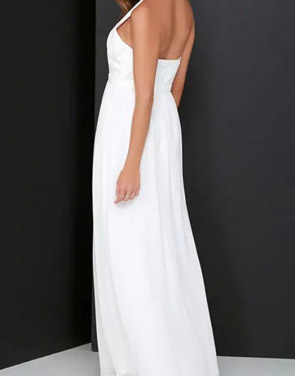 photo Halter Cut-out FronT-Backless Maxi Chiffon Dress by OASAP - Image 8