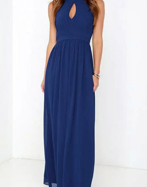 photo Halter Cut-out FronT-Backless Maxi Chiffon Dress by OASAP - Image 1
