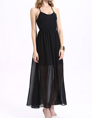 photo Halter Lace Up Open Back Maxi Dress with Lining by OASAP, color Black - Image 2