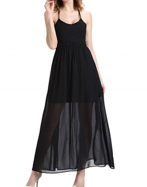 photo Halter Lace Up Open Back Maxi Dress with Lining by OASAP, color Black - Image 1