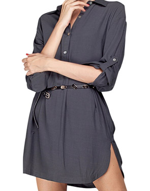 photo High Low Side Slit Button Front Chiffon Shirt Dress by OASAP, color Grey - Image 1