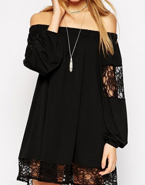 photo Hollow Out Lace Paneled Off the Shoulder Dress by OASAP - Image 1