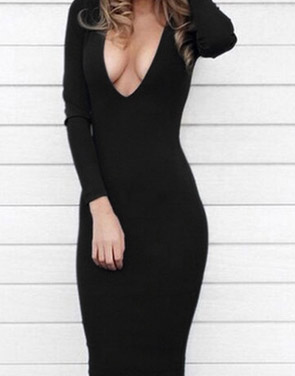 photo Hot Deep V-Neck Long Sleeve Bodycon Dress by OASAP - Image 1