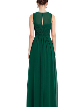 photo Illusion Neckline Ruched Long Evening Dress by OASAP, color Green - Image 2