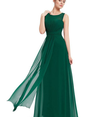 photo Illusion Neckline Ruched Long Evening Dress by OASAP, color Green - Image 3