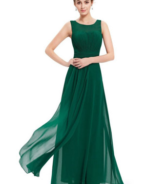 photo Illusion Neckline Ruched Long Evening Dress by OASAP, color Green - Image 4