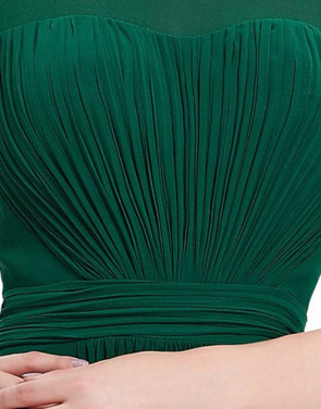 photo Illusion Neckline Ruched Long Evening Dress by OASAP, color Green - Image 5