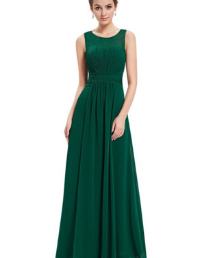 photo Illusion Neckline Ruched Long Evening Dress by OASAP, color Green - Image 1