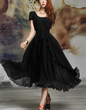 photo Irregular Hemline Bound Waist Short Sleeve Dress by OASAP - Image 2