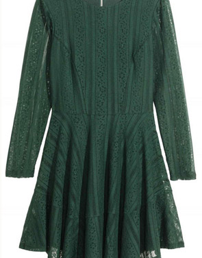 photo Lace Crochet Long Sleeve Round Neck Trapeze Dress by OASAP, color Hunter Green - Image 2