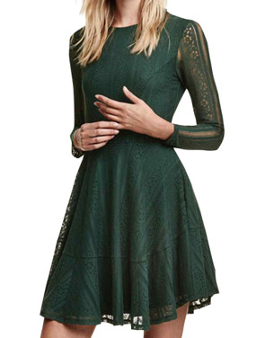 photo Lace Crochet Long Sleeve Round Neck Trapeze Dress by OASAP, color Hunter Green - Image 1