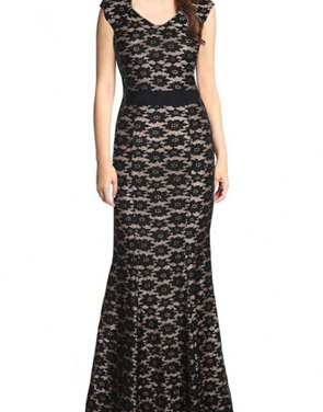 photo Lace Fishtail Embroidery Sleeveless Maxi Dress by OASAP, color Black - Image 1