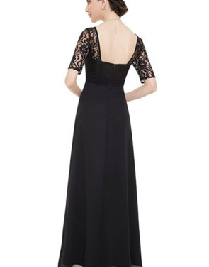 photo Lace Half Sleeve Empire Waist Evening Dress by OASAP, color Black - Image 2