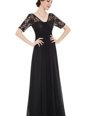 photo Lace Half Sleeve Empire Waist Evening Dress by OASAP, color Black - Image 1