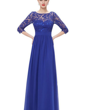 photo Lace Paneled Long Sleeve Floor Length Evening Dress by OASAP - Image 12