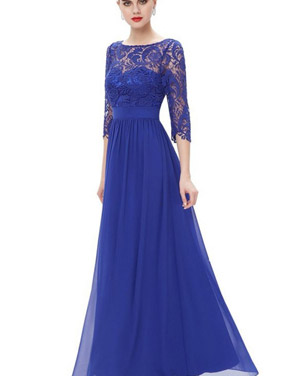 photo Lace Paneled Long Sleeve Floor Length Evening Dress by OASAP - Image 13