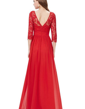 photo Lace Paneled Long Sleeve Floor Length Evening Dress by OASAP - Image 16