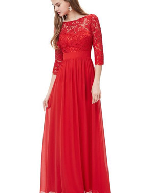 photo Lace Paneled Long Sleeve Floor Length Evening Dress by OASAP - Image 17