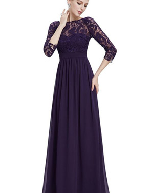photo Lace Paneled Long Sleeve Floor Length Evening Dress by OASAP - Image 19